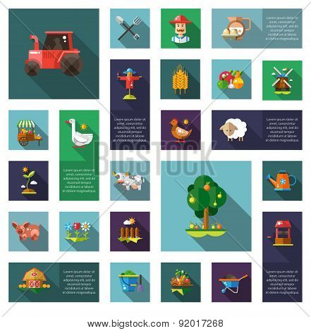 Set of modern flat design farm agriculture icons and elements