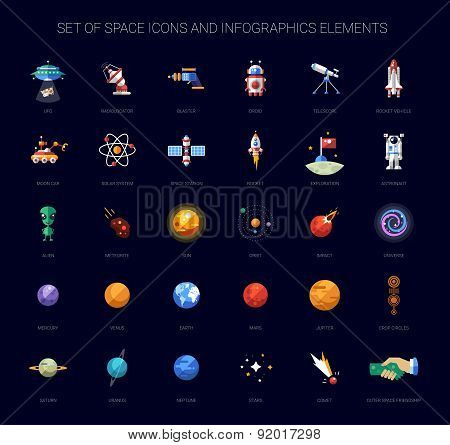 Set of space icons and infographics elements