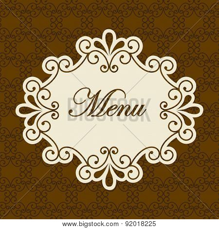 Menu design over brown background vector illustration