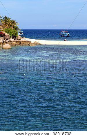 Ship  In Thailand Kho Tao Bay Abstract Of A  Water   South China Sea
