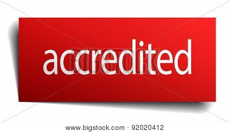 Accredited Red Paper Sign Isolated On White