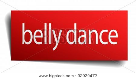 Belly Dance Red Paper Sign Isolated On White