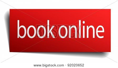 Book Online Red Paper Sign Isolated On White