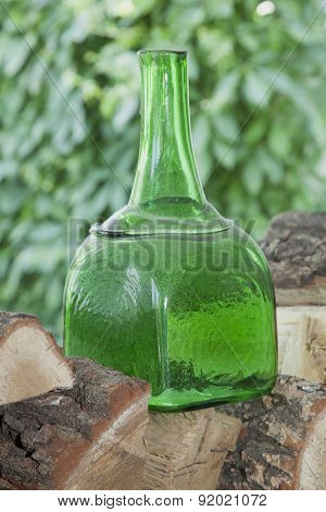 Antique Square Form Bottle Of Green Glass