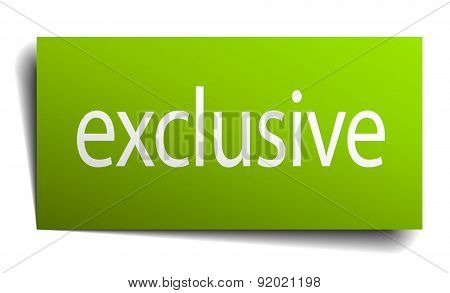 Exclusive Green Paper Sign Isolated On White