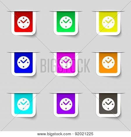 Mechanical Clock Icon Sign. Set Of Multicolored Modern Labels For Your Design. Vector