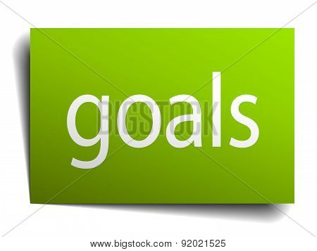 Goals Green Paper Sign Isolated On White