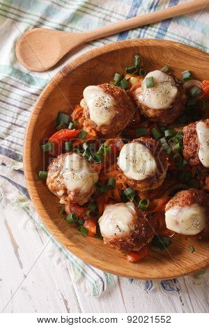 Meatballs Baked With Cheese Close Up Vertical Top View