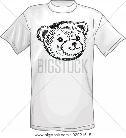 T-shirt & bear's smiling snout logo