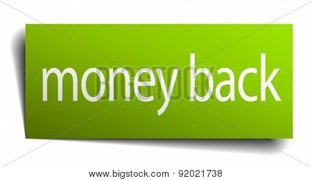Money Back Square Paper Sign Isolated On White