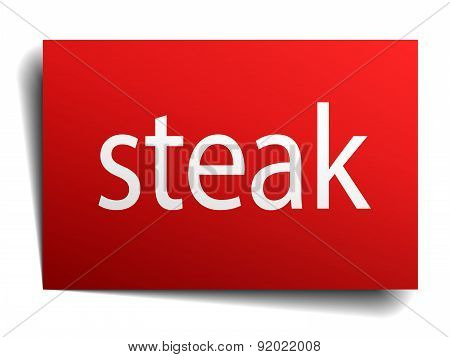 Steak Red Paper Sign Isolated On White