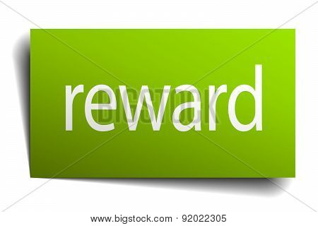Reward Square Paper Sign Isolated On White