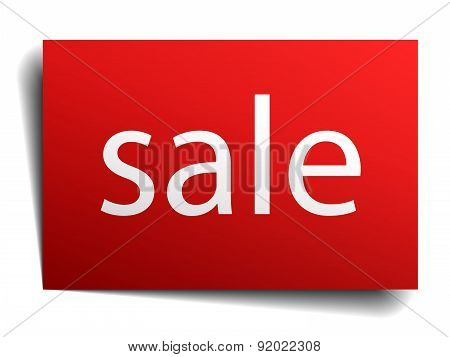 Sale Red Paper Sign Isolated On White