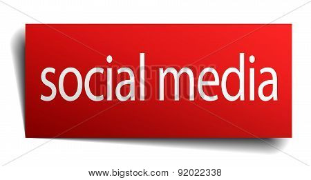 Social Media Red Paper Sign Isolated On White