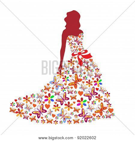 Silhouette Of A Girl In A Dress