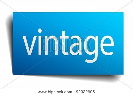 Vintage Blue Paper Sign Isolated On White