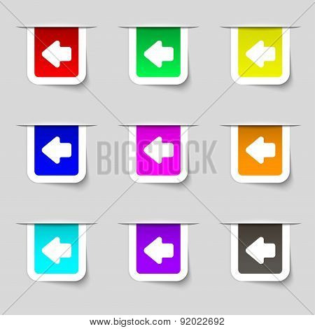 Arrow Left, Way Out Icon Sign. Set Of Multicolored Modern Labels For Your Design. Vector