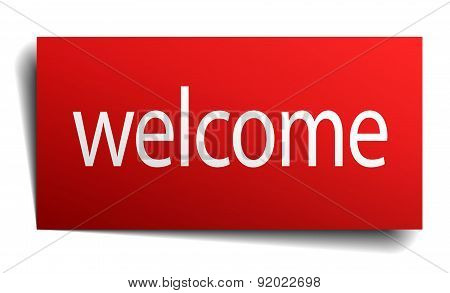 Welcome Red Square Isolated Paper Sign On White