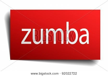 Zumba Red Paper Sign On White Background