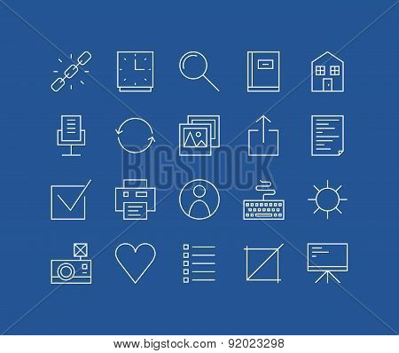 Web Basic Line Icons Set