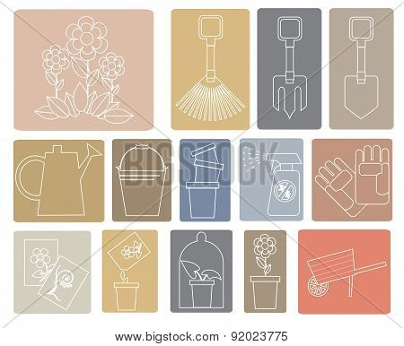 Line icons garden tools