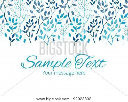 Vector blue forest horizontal border greeting card invitation template