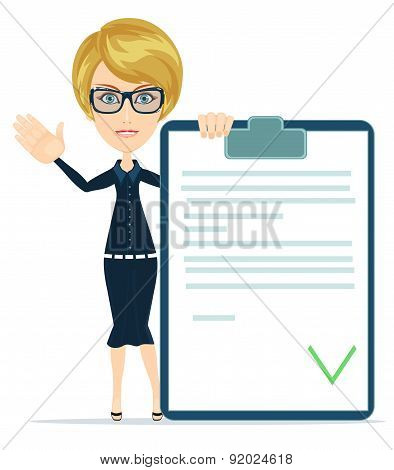 Woman showing a Document in Which All Approved,