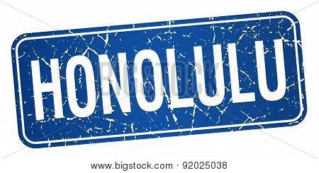 Honolulu Blue Stamp Isolated On White Background
