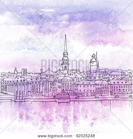 Illustration Of Old Town Gamla Stan, Stockholm