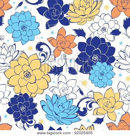 Vector blue gold flowers seamless pattern