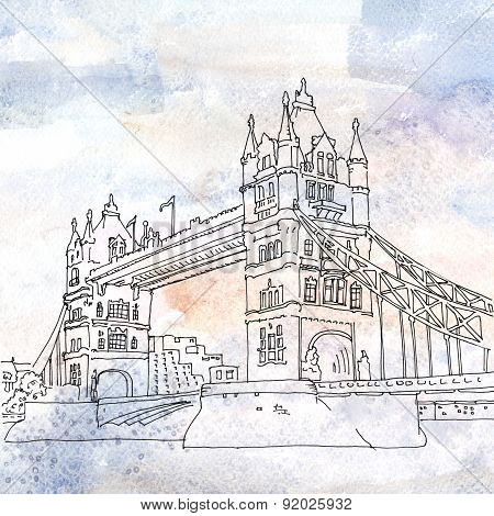 Illustration Of Tower Bridge In London, England