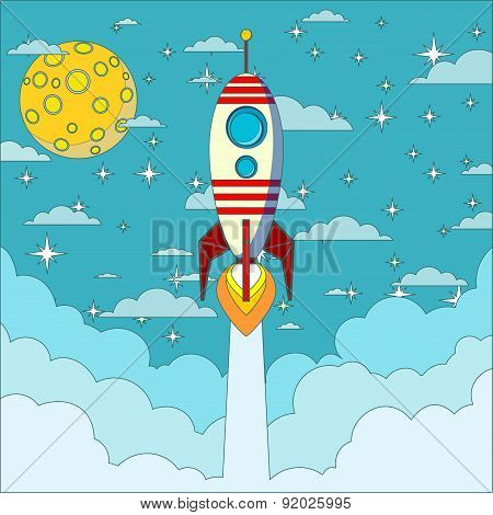 Rocket on the moon background, vector illustration