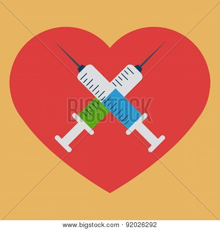 Heart with crossed syringes