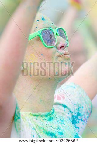 Face Of Girl Wearing Green Sun Glasses