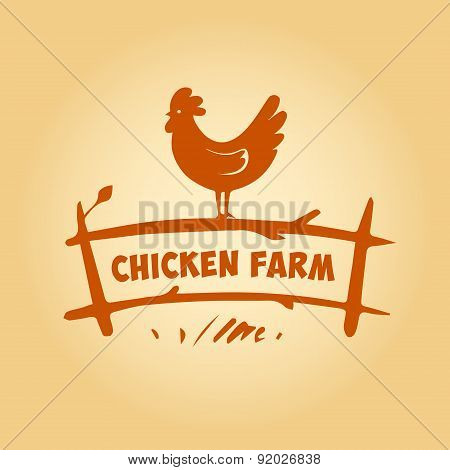 Vector logo, chicken on the fence. Products from chicken meat an