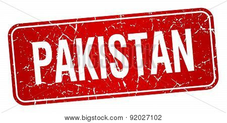 Pakistan Red Stamp Isolated On White Background