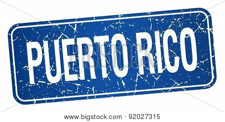 Puerto Rico Blue Stamp Isolated On White Background