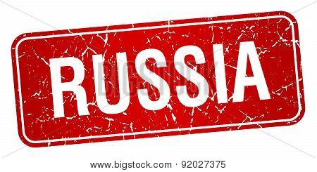 Russia Red Stamp Isolated On White Background