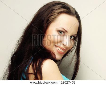 close up portrait smiling brunette