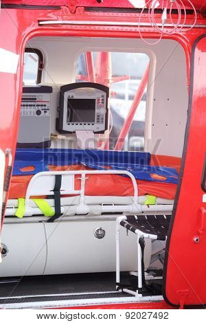 cabin of an ambulance helicopter