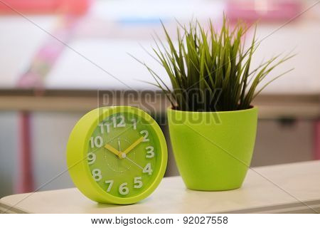 The image of flowers and alarm clocks