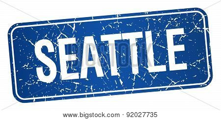 Seattle Blue Stamp Isolated On White Background