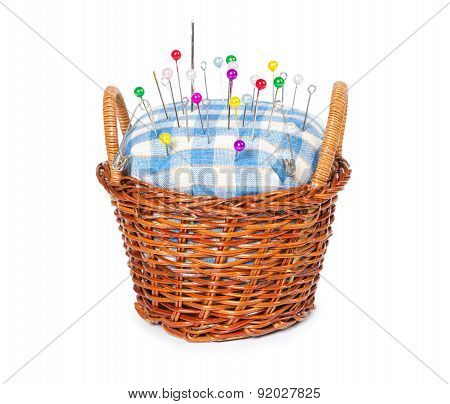 Wicker Basket With Pincushion