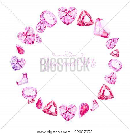 Pink Diamonds Watercolor Round Vector Design Frame