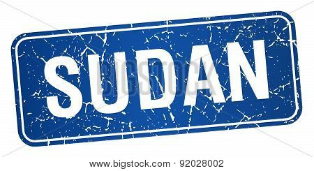 Sudan Blue Stamp Isolated On White Background
