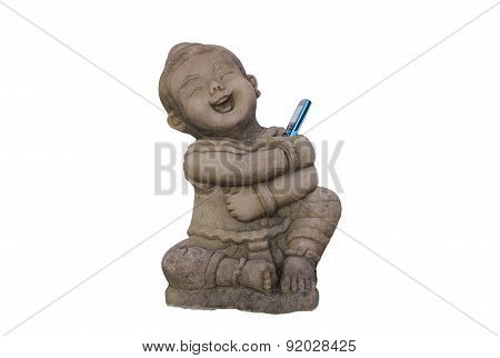 Smile Baby Doll Statue Telephone Happiness