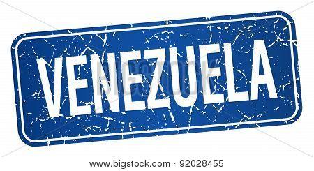 Venezuela Blue Stamp Isolated On White Background