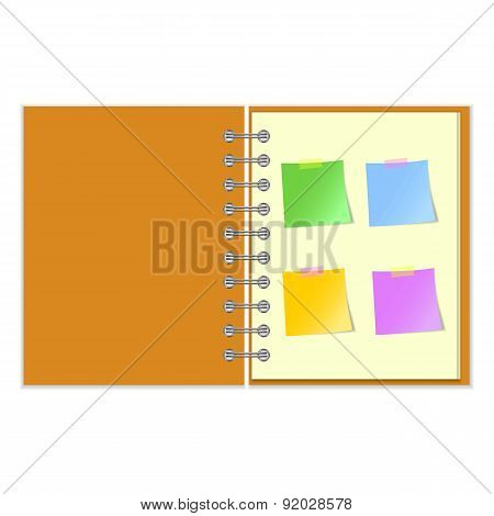 Open notebook with stickers