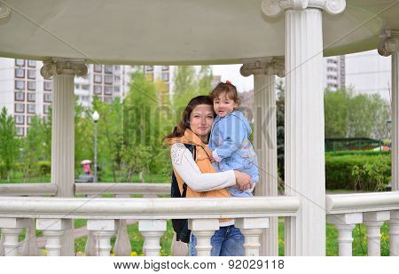 Mom And Daughter 2.5 Years For A Walk In  Gazebo