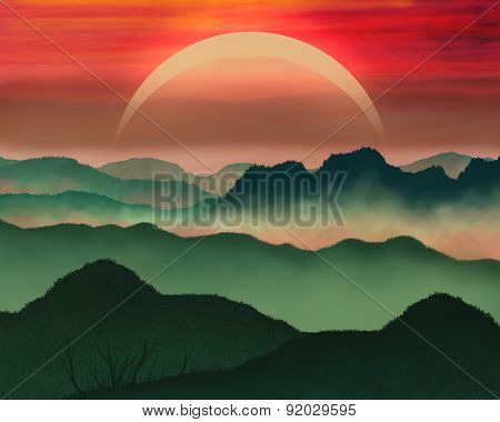 Colorful sunset mountains illustration.